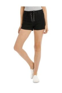 NEW miss shop black high waisted tie up denim shorts size 10