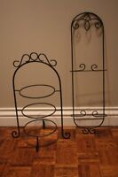 2 supports fer forge pour assiettes