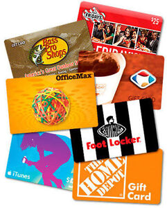 Gift cards(Different Kinds)