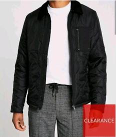 Men's River Island Onion Quilted Harrington Jacket Medium BNWT Black