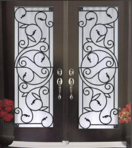 Door Glass inserts WROUGHT IRON GLASS stained glass wholesale