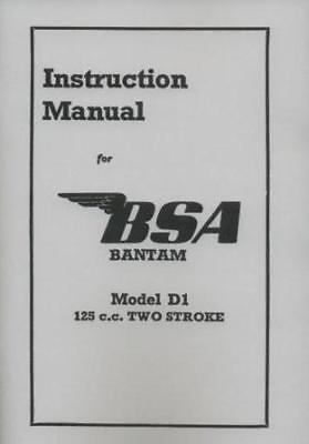 BSA  Bantam D1 Instruction book Rigid Plunger 125cc Manual