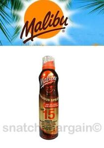 MALIBU SUNTAN CONTINUOUS DRY OIL LOTION WATER RESISTANT 175ML SPRAY ASSORTED SPF