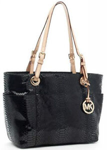 Michael Kors Jet Set Top Zip Tote Black Python Patent $228 Free Shipping
