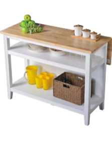 Kitchen Island with Folding Leaf, White and 2 bar stools