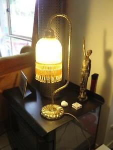 Large Brass Table Lamp Glass Tassles