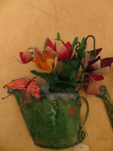 Metal Flowers in Watering Can Wall Decor London Ontario image 2