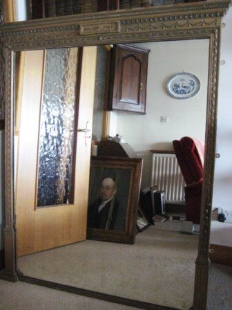 Large antique Victorian overmantle/ oversideboard gilt mirror, 4 ft x 5 ft