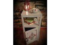 bedside table shabby chic with folk pattern, wooden 69cm x 35cm