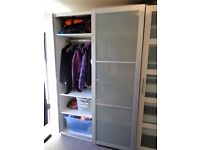 IKEA PAX WARDROBE WITH FROSTED GLASS SLIDING DOORS