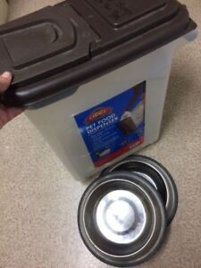 Large Dog Food Bin and Stainless Steel BOWLS