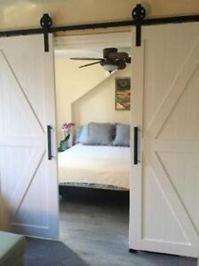 Barn doors, big and small, and soft close barn door hardware
