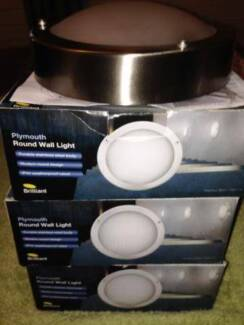 Lights Wall Bunker- Plymouth Round Exterior-Stainless Steel-NEW