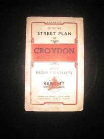 BARNETT'S OFFICIAL STREET PLAN. CROYDON. circa 1960's - FOLDING PAPER MAP