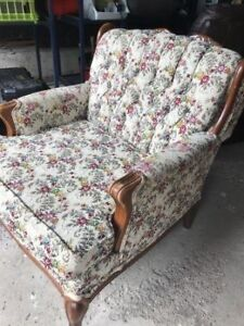 French Provincial Petit Point Pattern Sofa and matching Chair