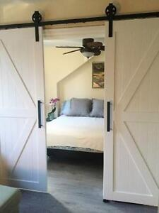 Easy opening soft close barn door hardware - no slamming!