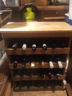 Wine Cabinet Home Made of Wood & Corrugated Iron Shelves+Extras