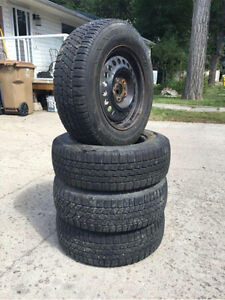 PRICE DROP: 4 Winter Tires W/ Rims - 195/70R14 Regina Regina Area image 1