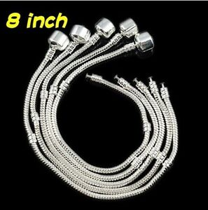 Wholesale 5/10/20Pcs lots European Silver Snake Chain Bracelet Fit Charm Beads