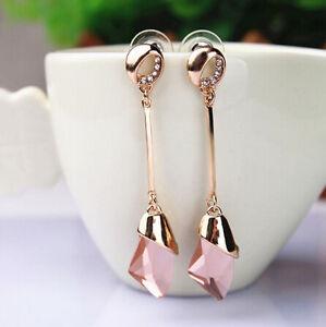 Gold Plated Long Light Pink Austrian Crystal Drop Dangle Push Back Earrings