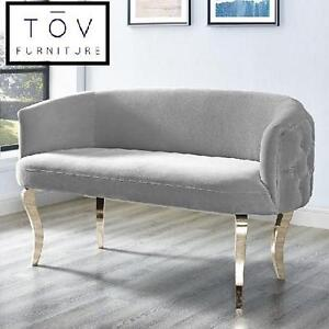 NEW TOV VELVET UPHOLSTERED LOVESEAT - 124353364 - GREY GOLD LEGS