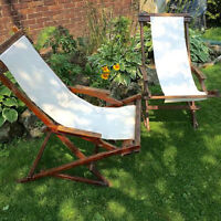 Antique Wooden Folding Deck Chairs
