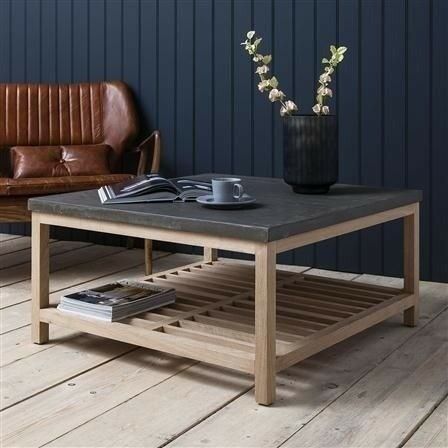 2 X Brooklyn French Oak Square Coffee Table With Concrete Resin Top By Gallery Direct