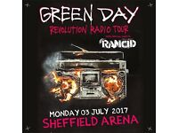 4x Green Day standing tickets, Sheffield Arena, Monday 3rd July 2017