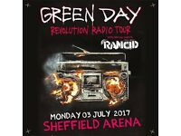 4x Green Day standing tickets, Motorpoint Arena Sheffield, Monday 3rd July 2017