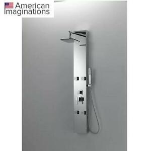 NEW* FIXED SHOWER HEAD SHOWER PANEL AI-11042 209822847 American Imaginations Rectangle Wall Mount CUPC Approved Stain...