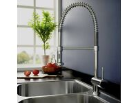 Swan Neck pullout kitchen spray tap= Brushed Steel