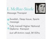 Friday Massage Therapy bookings available from 10am