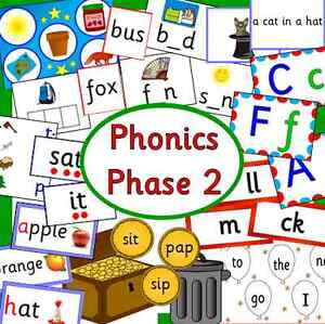 Phonics Phase 2 teaching resource pack-games,flash card