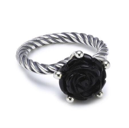 Genuine Pandora Onyx Rose Ring size 54 (N 1/2)- as new
