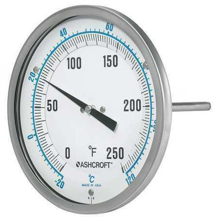 Ashcroft 50Ei60r Dial Thermometer,Bimetallic,Glass Window