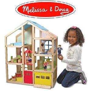 NEW* MD HI-RISE WOODEN DOLLHOUSE Melissa  Doug Hi-Rise Wooden Dollhouse With 15 pcs Furniture - 104677014