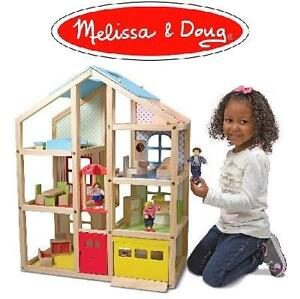 NEW* MD HI-RISE WOODEN DOLLHOUSE Melissa  Doug Hi-Rise Wooden Dollhouse With 15 pcs Furniture - 104677014