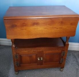 Vintage Breakfast Table / Sewing Table with cupboard storage & extendable table top