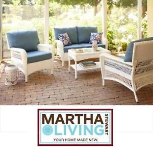 NEW MARTHA STEWART 4PC PATIO SET CHARLOTTETOWN - MSL - HAND-WOVEN WHITE W/ BLUE CUSHIONS BACKYARD DECK SEATING