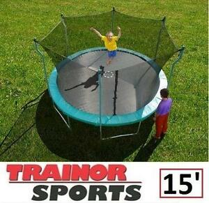 NEW* TRAINOR SPORTS 15' TRAMPOLINE TRAMPOLINE WITH ENCLOSURE 109123824
