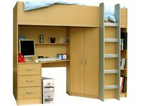 High sleeper with desk and drawers