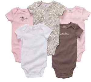 NWT CARTERS GIRLS BODYSUITS SHIRTS 5 PACK 12 18 24 MONTHS - 3 STYLES
