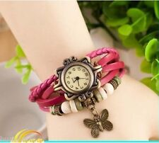 VINTAGE RETRO BEADED BRACELET LEATHER WOMEN WRIST WATCH - BUTTERFLY PINK