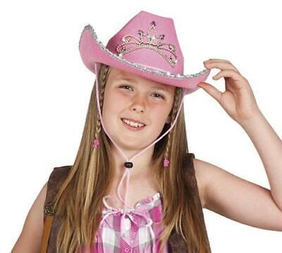 COWBOY HUT Mädchen Pink Rosa Cowgirl Diadem Kinder Kostüm Fasching - Kind Rosa Cowgirl Kostüm