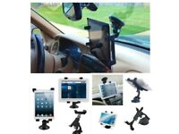 Car Windshield & Desk Top Mount Bracket Holder for iPad/Tablet PCs Car Headrest Mount Holder (Black)