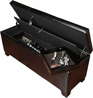XL Gun Safe Trunk Hidden Rifle Shotgun Pistol wth Cushion Lock Storage Bench NEW
