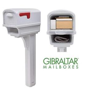 NEW MAILBOX  POST COMBO KIT GGC1W0000 220665169 GIBRALTAR MAILBOXES GENTRY LARGE CAPACITY DOUBLE WALLED WHITE PLASTICS
