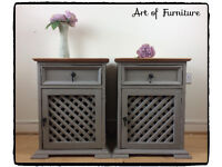 Mexican Rustic Pine Bedside Tables Hand Painted in ANNIE SLOAN French Linen Chalk Paint