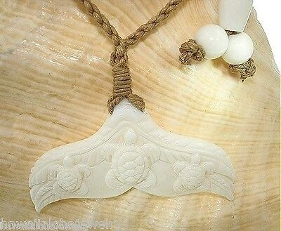 Hawaiian Hand Carved Buffalo Bone Humpback Honu Flukes Pendant Necklace Adjust