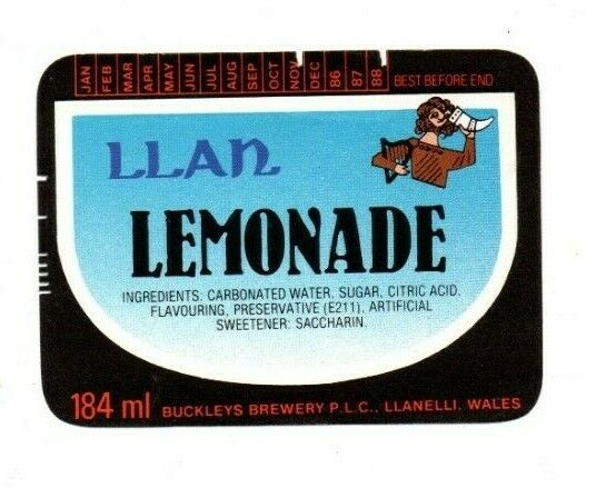 Vintage Label Buckley Brewery Llanelli Llan Raspberryade Wales